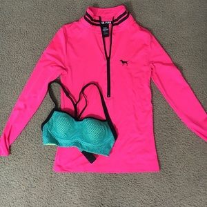 VS Pink Athletic Quarter Zip and Sports Bra